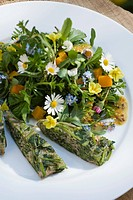 Spring herb salad with edible flowers and frittata