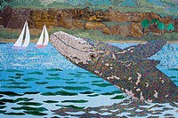 USA, California, Orange County, Pacific Coast Highway pedestrian bridge, Dana Point, Tile mosaic