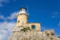 Low angle view of a lighthouse, Old Fortress, Corfu Town, Ionian Islands, Greece