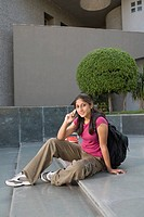 University Student Using Cell Phone