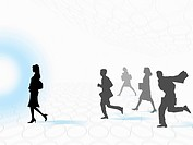 Business people running, digitally generated image