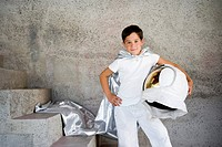 Little Boy Dressed up as Superhero