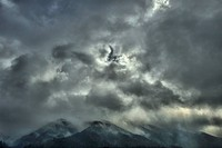 Japan, Dramatic clouds covering mountains