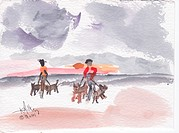 Walking dogs on beach