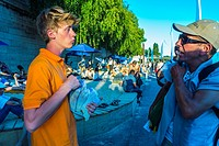 Paris, France, Teen Tour Guide, Giving Advice to Tourist at Annual Event, Paris Beach, 'Paris Plage'
