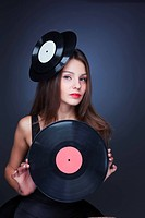 beautiful girl with vinyl record