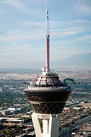 Close up shot of the Stratosphere and its rooftop rides and observation deck in Las Vegas, Nevada
