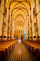 Interior of Notre Dame Cathedral in Ho Chi Minh City, Vietnam
