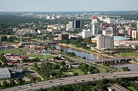 Aerial view of buildings in a city, Century II Convention Hall, Arkansas River, Wichita, Kansas, USA