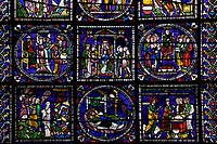 United Kingdom, Kent, Canterbury Cathedral, North Quire Isle n.XV, Sixth Typological Window, medieval stained glass