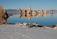 USA, California, Limestone tufa tower, Mono Lake