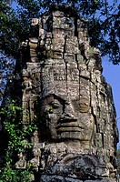 Cambodia, Angkor, Ta Prohm Temple, Entrance Gate With Face Of Avalokitecvara