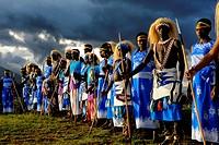 Rwanda, Virunga Area, Volcanoes National Park, Local group performing traditional dancing posing for portrait