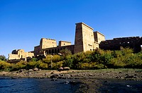 Egypt, Aswan, Nile River, Agilkia Island, View of Temple of Philae