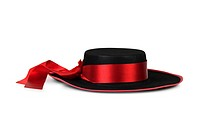 Women´s black hat with red ribbon