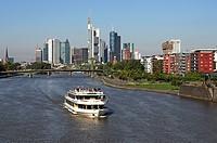 Ship on the Main River, skyline of Frankfurt am Main, Hesse, Germany, Europe