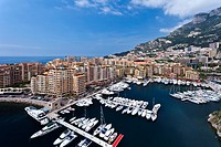 Port de Fontvielle marina and yacht basin in the Principality of Monaco