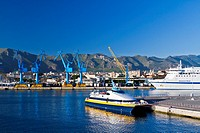 The industrial commercial port in Palermo, Sicily, Italy