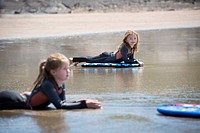 Children on surfboards in water