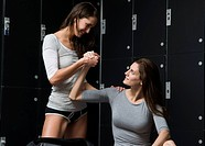 Woman Feeling Other Women´s Muscles