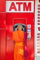 Monk at an ATM Machine, Vientiane, Laos