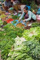 Woman selling vegetables at morning market, Luang Phabang, Laos
