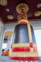 Temple bell in Wat Traimit also known as the Golden Buddha Temple, Bangkok, Thailand