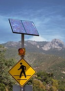 Sequoia National Park, California - A solar-powered caution sign for a pedestrian crosswalk in Sequoia National Park