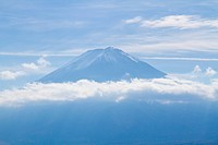 Mt. Fuji with clouds against blue sky, autumn