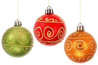 Three Christmas baubles hanging over white background
