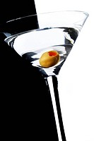 One olive martini with black and white background