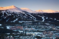 USA, Colorado, Breckenridge, elevated town view from Mount Baldy, dawn