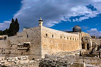 Jerusalem Archaeological Park with Al-Aqsa Mosque above, Temple Mount, Jerusalem, Israel
