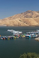 Three Rivers, California - Houseboats on Lake Kaweah, an artificial reservoir in the western foothills of the Sierra Nevada mountains  The lake was cr...