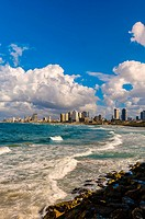 The Mediterranean Sea and the coastline of Tel Aviv, Israel