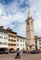 The village Kaltern Caldaro sulla Strada del Vino in South Tyrol Parish church Mariae Himmelfart Kaltern is a hot spot for tourism in South Tyrol boas...