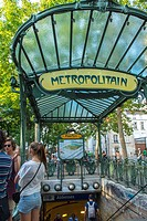 Paris, France, People in Abesses Metro Entrance, Montmartre Area, The canopy at Abbesses station is apparently one of only three surviving Art Nouveau...
