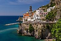 The picturesque fishing village of Atrani on the Amalfi Coast, Campania, Italy