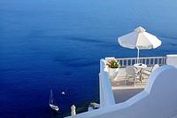 Balcony overlooking the Aegean Sea