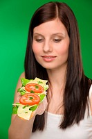 Healthy lifestyle _ woman enjoy cheese sandwich