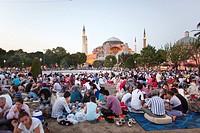 Ramadan picnic in front of the Aya Sofya, istanbul