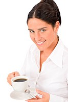 Smiling businesswoman attractive hold coffee cup
