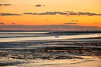 sunset over estuary
