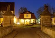 Ehrenhof, court of honour, Schloss Kirchberg Castle, former palace of the princes of Hohenlohe-Kirchberg, Kirchberg an der Jagst, Jagsttal Valley, Hoh...