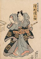 Legendary Japanese outlaw, as portrayed by an actor. Woodcut by Toyokuni Utagawa, c1827.