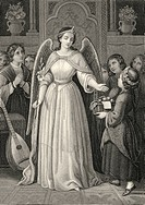Historic steel engraving by Johann Baptist Wilhelm Adolf Sonderland, 1805 - 1878, a German illustrator, Mignon as an angel with a lute and children, s...
