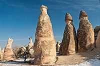 Fairy Chimneys rock formations at the Lovers Valley, Cappadocia, Goreme, Turkey