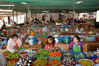 Weekly market in a market hall in the town of Phansavan, Laos, Southeast Asia
