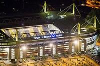Aerial view, Signal Iduna Park, Extraschicht 2012, annual cultural event, Dortmund, Ruhr Area, North Rhine-Westphalia, Germany, Europe
