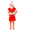 Portrait of a little girl with Santa hat and gift on white background